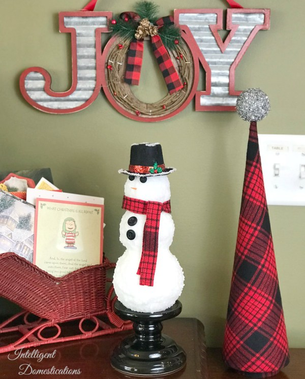 DIY plaid cone Christmas tree