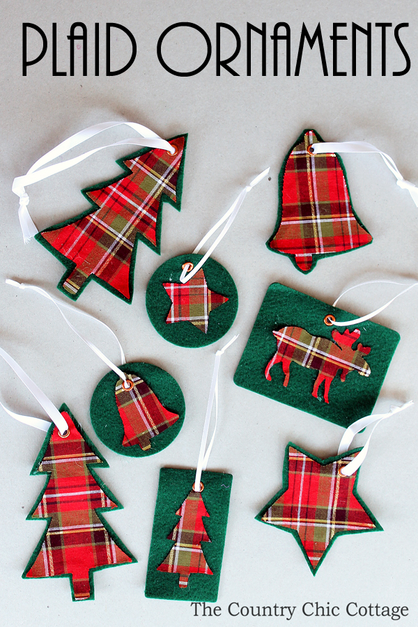 DIY plaid and green felt ornaments (via www.thecountrychiccottage.net)