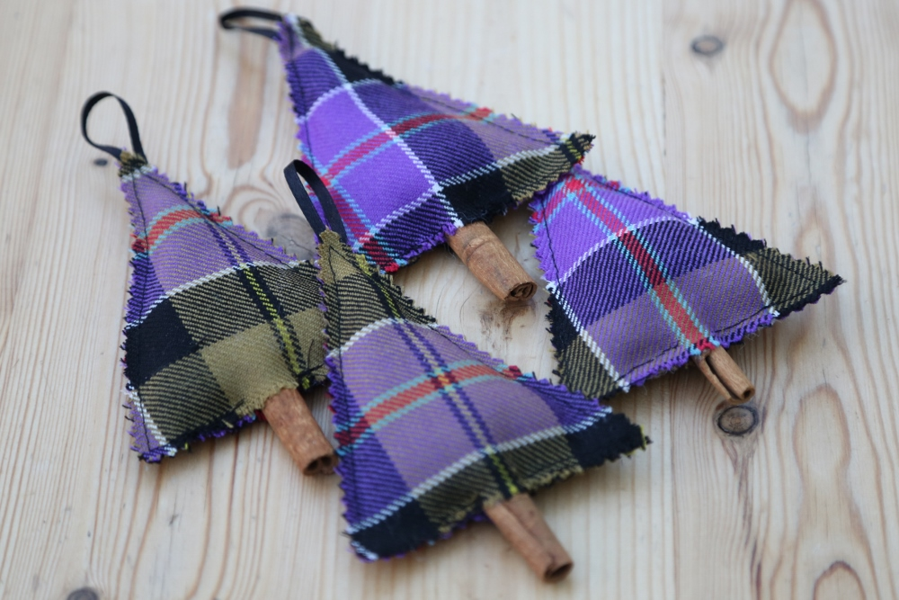 DIY purple tartan Christmas tree ornaments