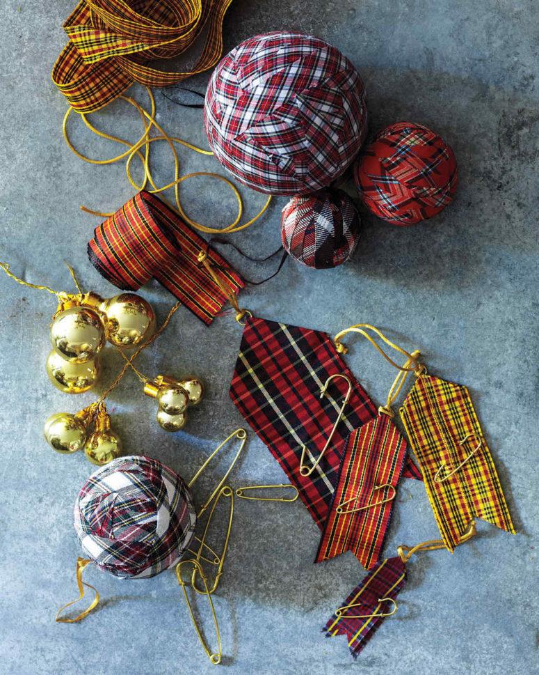 DIY plaid ball ornaments (via www.marthastewart.com)