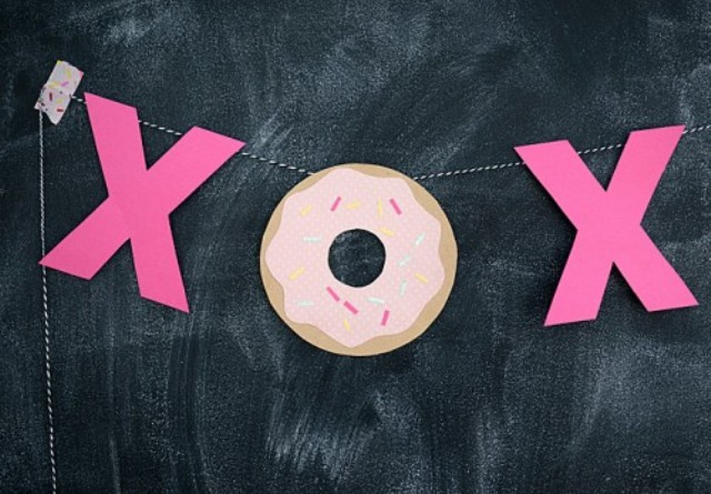 a colorful paper garland of XO and donuts will be loved by kids and adults