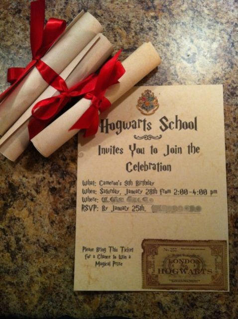 make invitations as letters from Hogwarts to excite all the kids