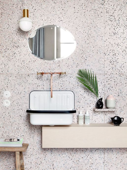 white, grey and black terrazzo on the walls looks cute and textural