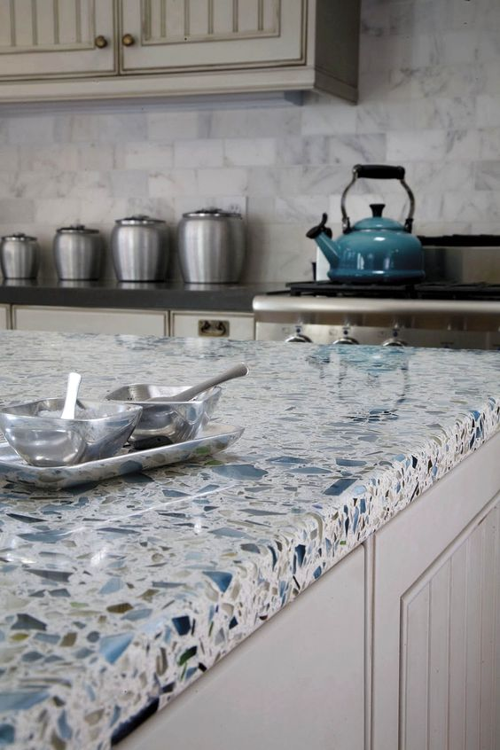 stylish white and blue terrazzo countertop for a coastal kitchen