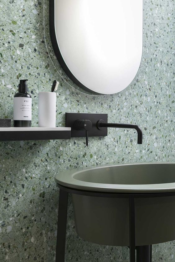 stylish terrazzo in the shades of green and grey looks edgy and calming at the same time