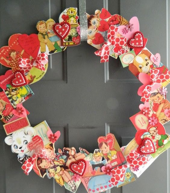 a wreath made of vintage Valentine's Day cards looks retro