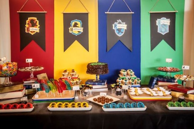 hang colleges' emblems and colors and serve various sweets for each