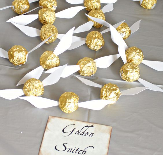 Ferraro Rocher as little Golden Snitches is a funa nd tasty idea