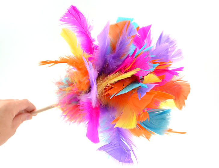 DIY colorful feather cat toy (via www.dreamalittlebigger.com)