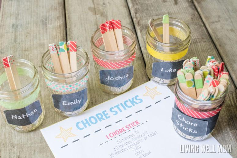 DIY chore stick system (via livingwellmom.com)