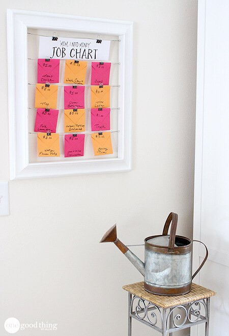 DIY chore chart for earning pocket money (via www.onegoodthingbyjillee.com)