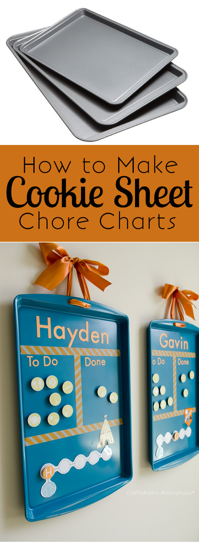DIY cookie sheets chore charts (via www.craftaholicsanonymous.net)
