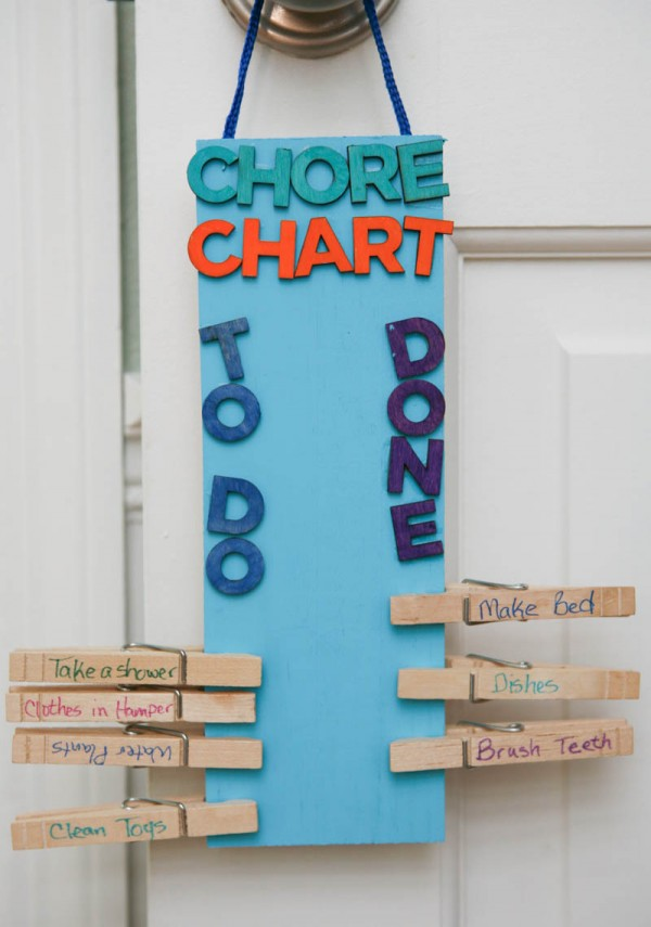 DIY clothespin chore chart (via eclecticrecipes.com)