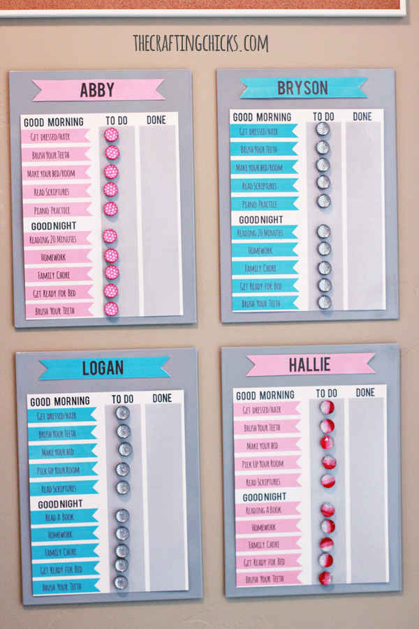 DIY IKEA hack chore chart with magnetic boards (via thecraftingchicks.com)