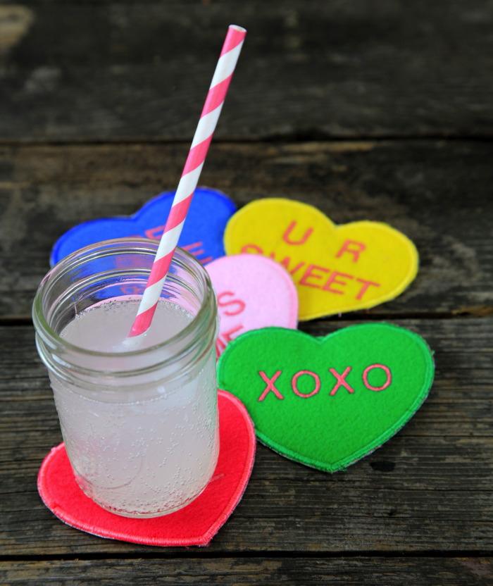 DIY conversation heart coasters (via www.prettyprudent.com)