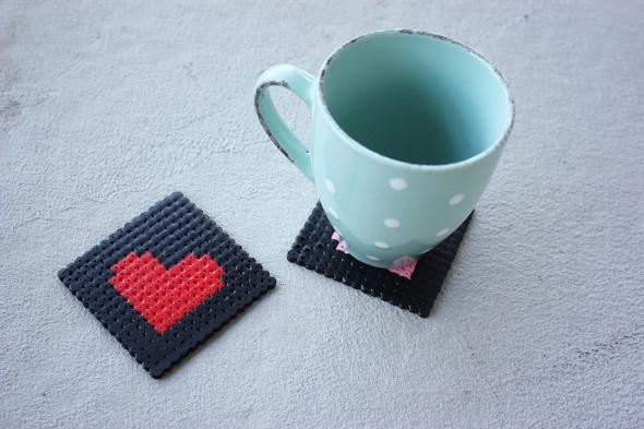 DIY bead heart coasters