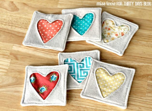 DIY cute fabric heart coasters (via www.thirtyhandmadedays.com)