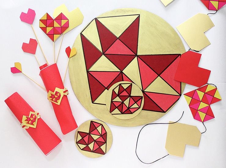DIY colorful geometric heart coasters (via thecraftables.com)