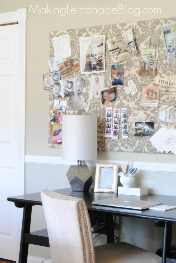 DIY large bulletin board with nail trim on the edge