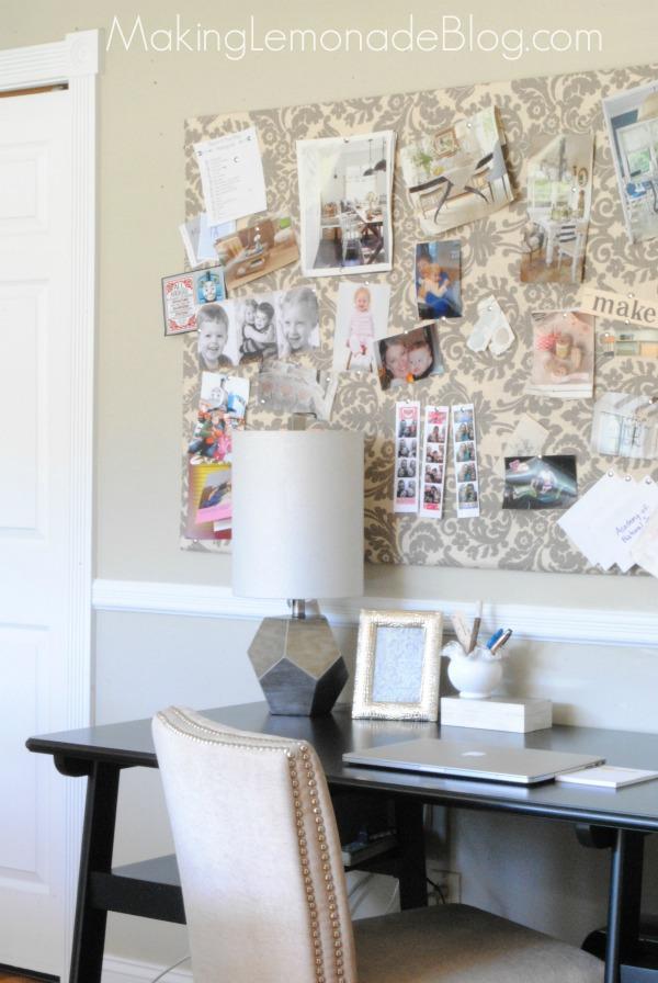 DIY large bulletin board with nail trim on the edge (via makinglemonadeblog.com)