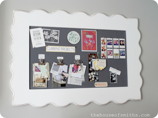 DIY fabric pinboard with a wide vintage frame