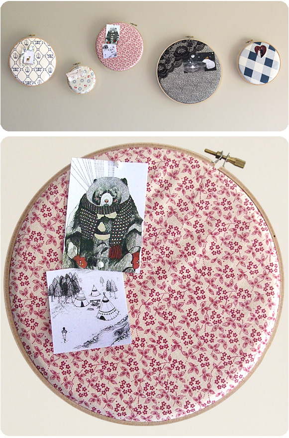 DIY pinboards of embroidery hoops