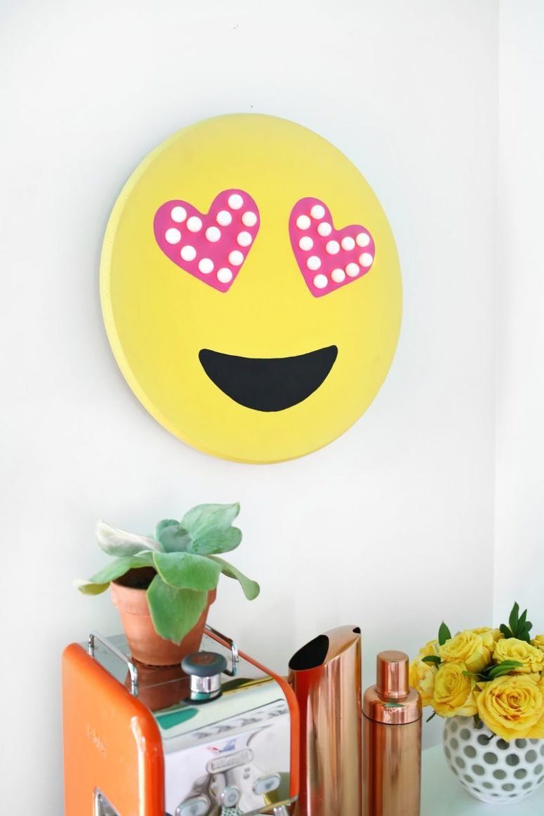 DIY emoji marquee with heart-shaped eyes (via abeautifulmess.com)