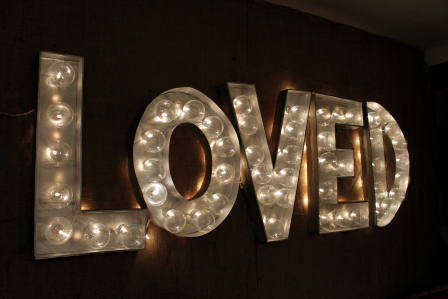 DIY LOVED marquee sign (via thenotsosecretlifeofbee.wordpress.com)