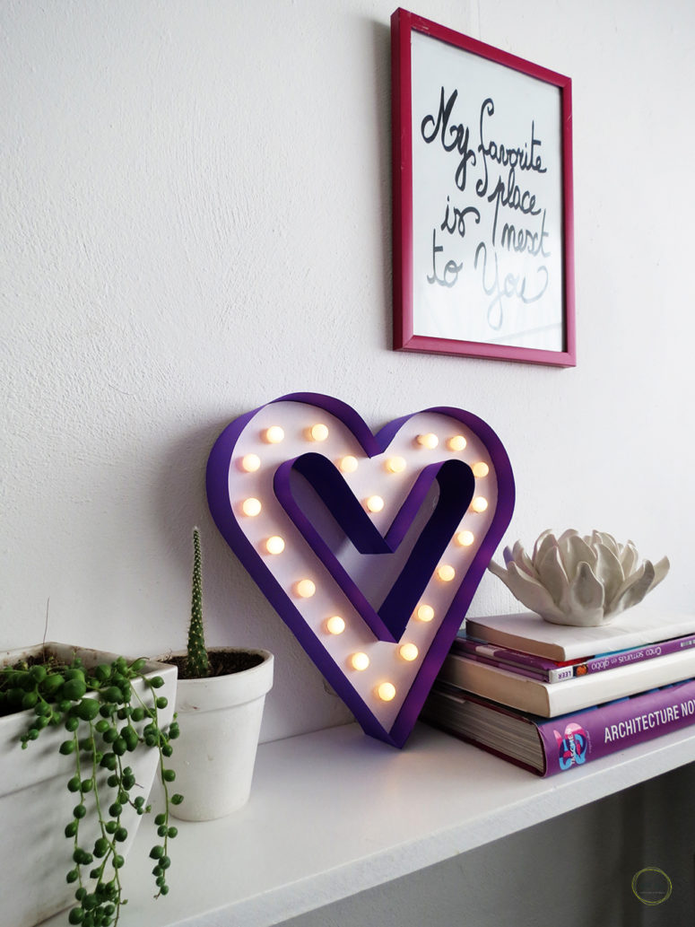DIY purple heart-shaped marquee sign (via www.ohohblog.com)