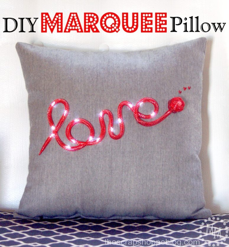 DIY marquee light pillow (via www.thescrapshoppeblog.com)