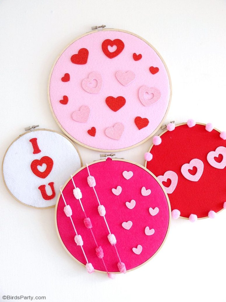 DIY no sew embroidery hoop wall art (via www.blog.birdsparty.com)