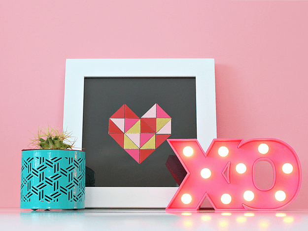 DIY paper geometric heart wall art (via www.whitehousecrafts.net)