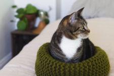DIY soft knit cat bed