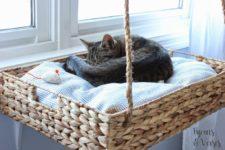 DIY hanging wooden basket bed