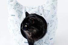 DIY cat bed shaped as a cat head