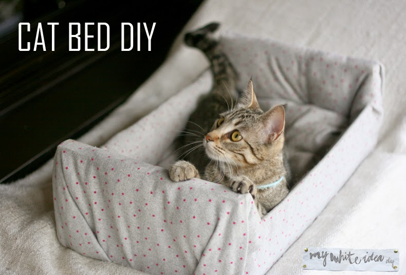 DIY covered crate cat bed