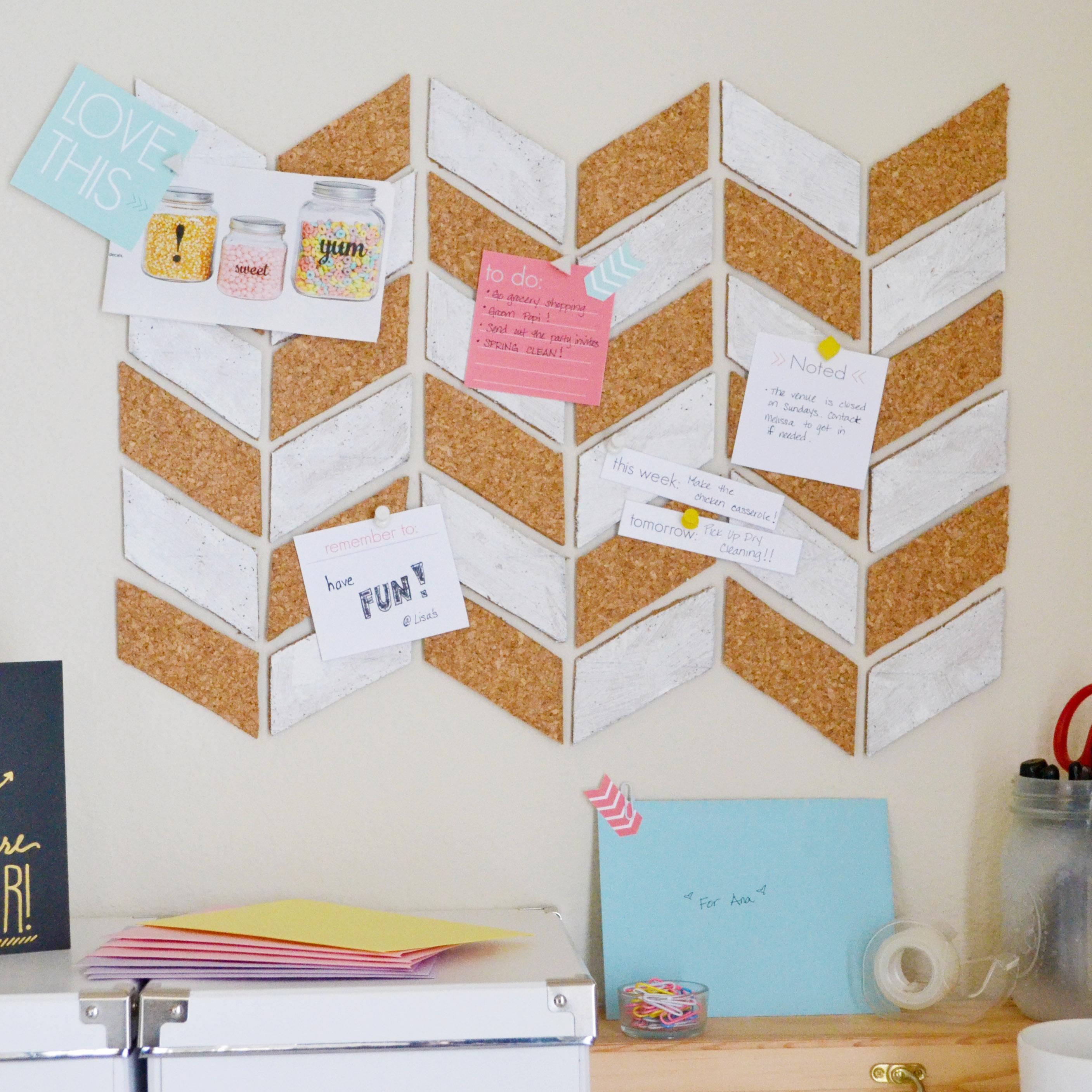 DIY herringbone bulletin board