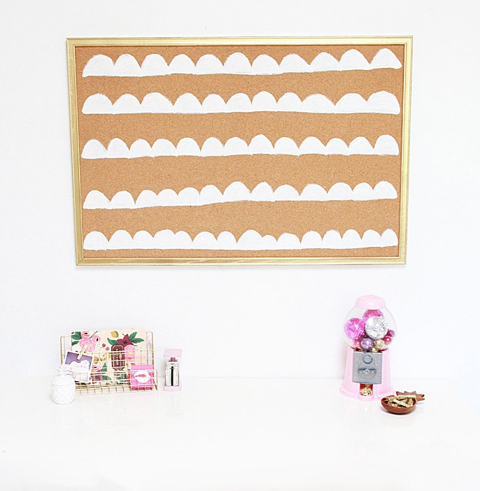 DIY scalloped cork board