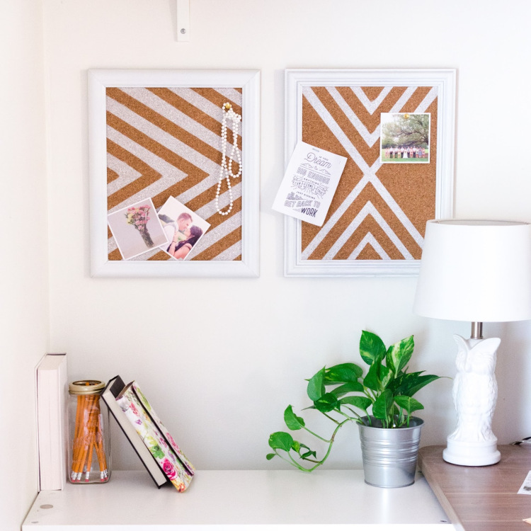 DIY framed chevron corkboards