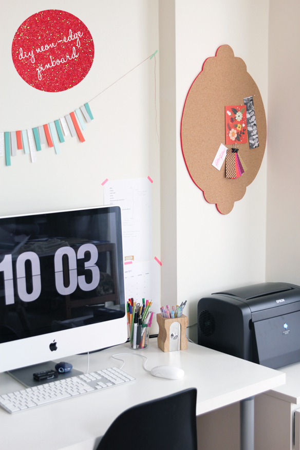 DIY neon edge pinboard (via fellowfellow.com)