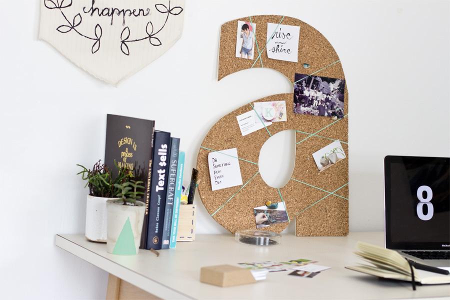 DIY monogram cork pinboard