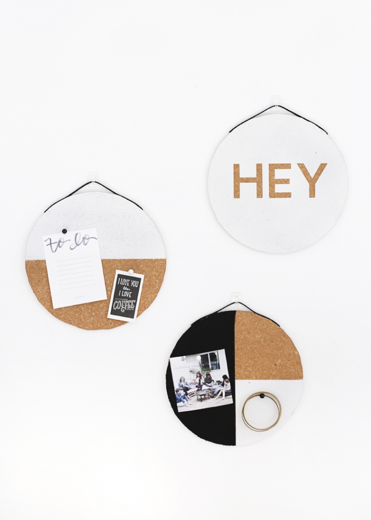 DIY cork boards with geometric decor (via themerrythought.com)
