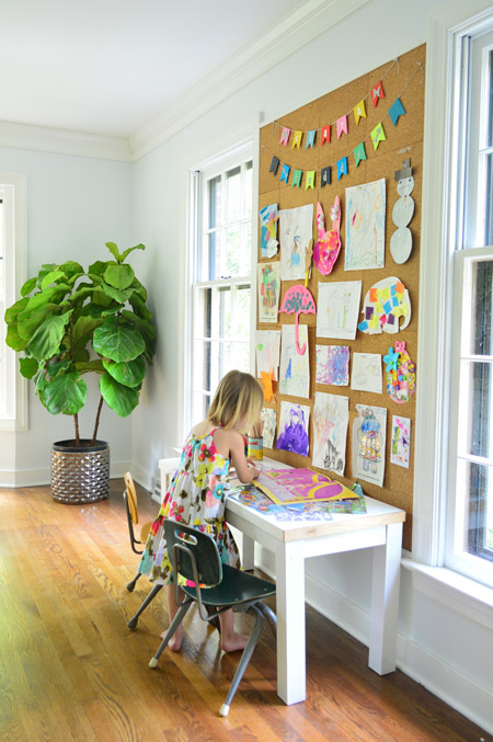 DIY large cork wall board for kids (via www.younghouselove.com)