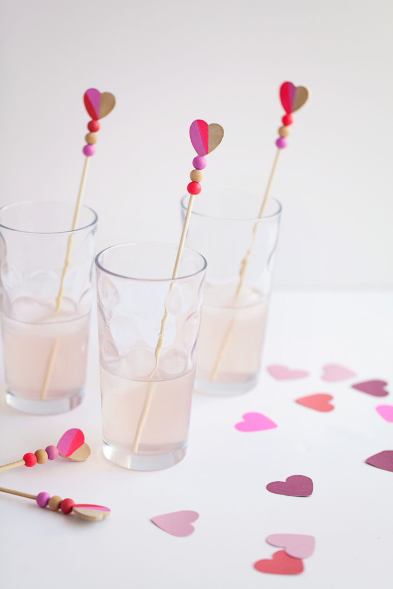 DIY heart wooden bead drink stirrers (via tellloveandparty.com)