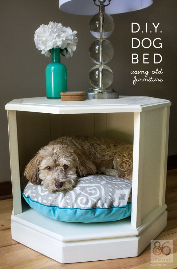 DIY octagonal table dog bed (via 86lemons.com)