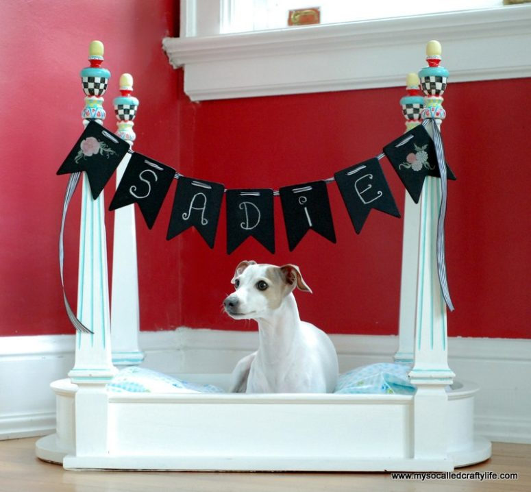 DIY dog bed with posters of a side table (via www.mysocalledcraftylife.com)
