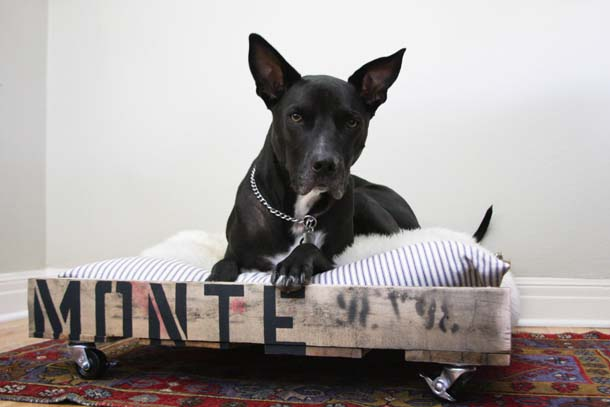 DIY industrial pallet dog bed (via camillestyles.com)
