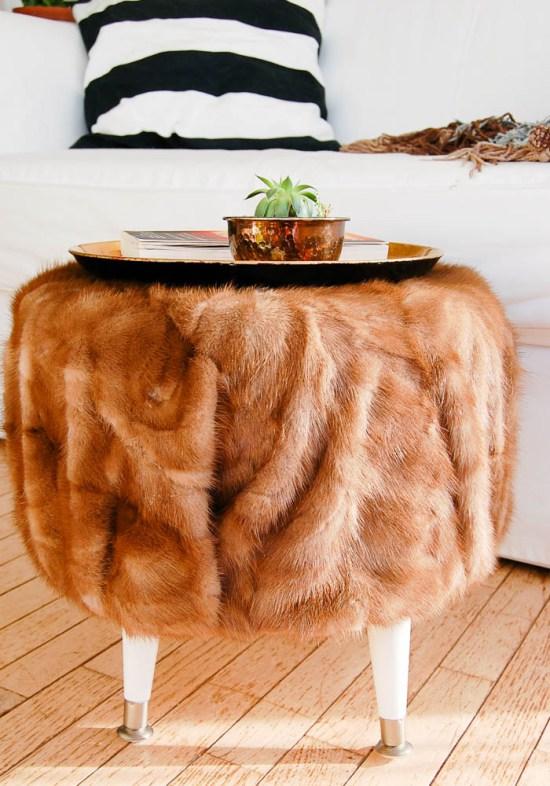 DIY vintage fur ottoman (via www.diypassion.com)