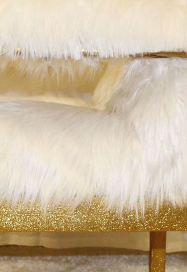 DIY gold glitter faux fur chair (via www.hometalk.com)