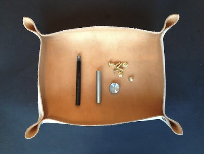 DIY workspace leather catchall trays (via www.remodelista.com)